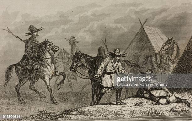 Kyrgyz camp Moscow Russia engraving by Lemaitre Vernier and Chaillot from Russie by Jean Marie Chopin La Fin de la Russie d'Europe La Crimee et les...