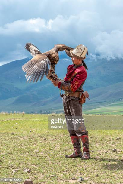 kyrgyz hunter  eagle - tien shan mountains stock pictures, royalty-free photos & images