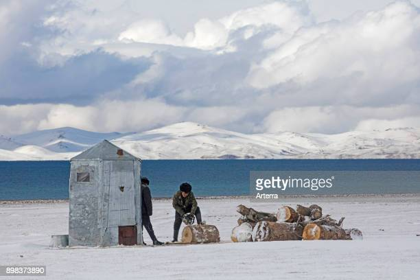 Kyrgyz men cutting wood with chainsaw in the snow along Song Kul / Song Kol lake in the Tian Shan Mountains Naryn Province Kyrgyzstan