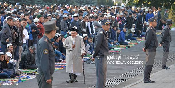 Kyrgyz muslims pray on the first day of the Eid alAdha in Bishkek on September 24 2015 Muslims across the world celebrate the annual festival of Eid...
