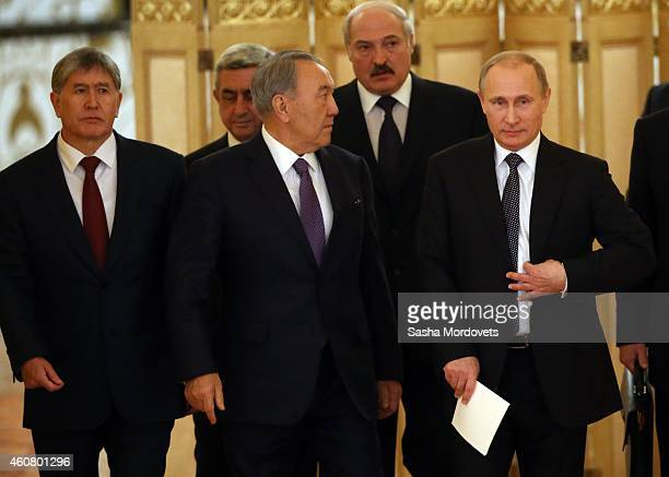 Kyrgyz President Almazbek Atambayev Armenian President Serge Sargsyan Kazakh President Nursultan Nazarbayev Belarussian President Alexander...