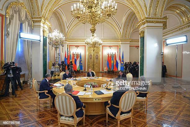 Kyrgyz President Almazbek Atambayev, Collective Security Treaty Organisation secretary general Nikolai Bordyuzha, Russian President Vladimir Putin,...