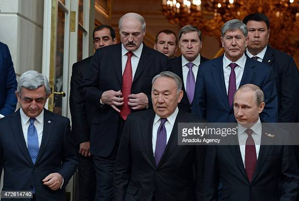 Kyrgyz president Almazbek Atambayev is seen during the High Eurasia Economic Council meeting at the Kremlin in Moscow Russia on May 8 2015 The...