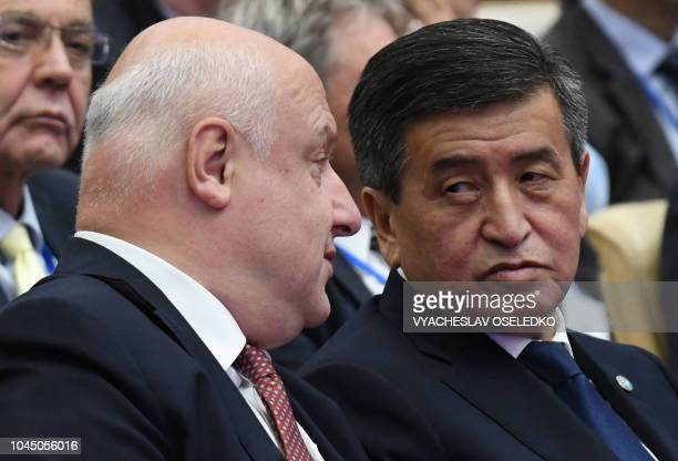 Kyrgyz President Sooronbay Jeenbekov and OSCE PA President George Tsereteli attend the 17th Autumn meeting of the Organization for Security and...
