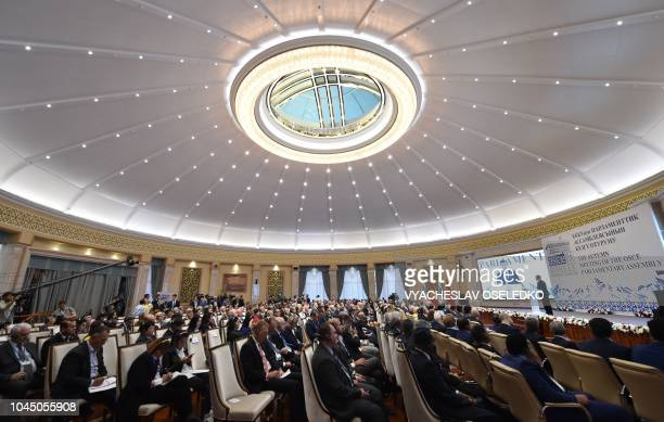 Kyrgyz President Sooronbay Jeenbekov delivers a speech during the 17th Autumn meeting of the Organization for Security and Cooperation in Europe...