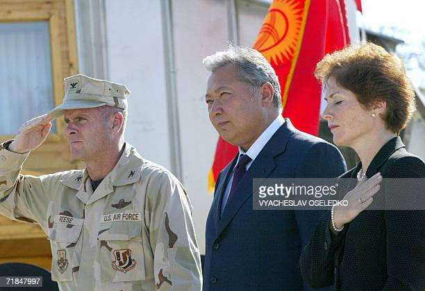 Kyrgyz Prezident Kurmanbek Bakiev commander of the 375th Air Expeditionary Wing colonel Joel Reese and US ambassador to Kyrgyzstan Marie Yovanovitch...