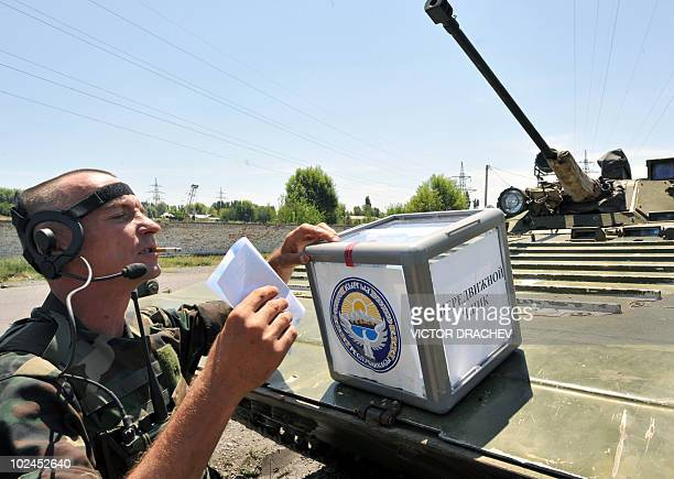 Kyrgyz soldier casts his vote in Osh, on June 27, 2010. Kyrgyzstan is to vote in a constitutional referendum that interim authorities insist is vital...