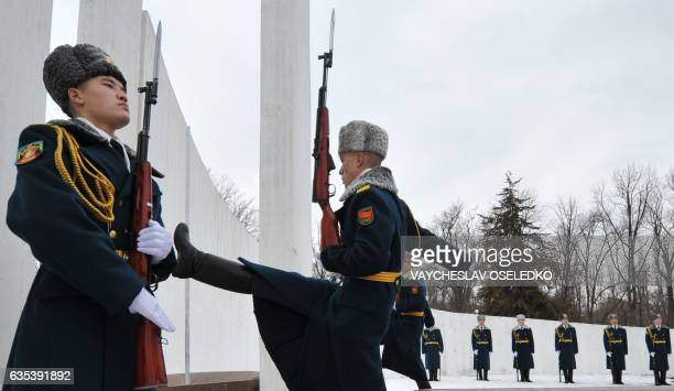 A Kyrgyz soldier goosesteps at a memorial monument to the Soviet soldiers killed in Afghanistan while fighting against the Afghan rebels in the 1980s...