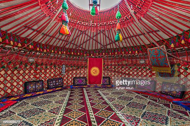 a kyrgyz traditional yurt - yurt stock pictures, royalty-free photos & images