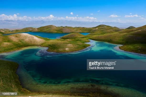 kyrgyzstan, base camp of the pic lenine - kyrgyzstan stock pictures, royalty-free photos & images