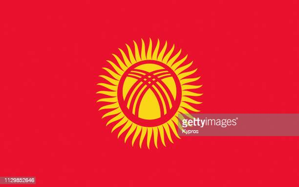 kyrgyzstan flag - kyrgyzstan stock pictures, royalty-free photos & images
