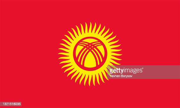 kyrgyzstan flag simple illustration for independence day or election - kyrgyzstan stock pictures, royalty-free photos & images