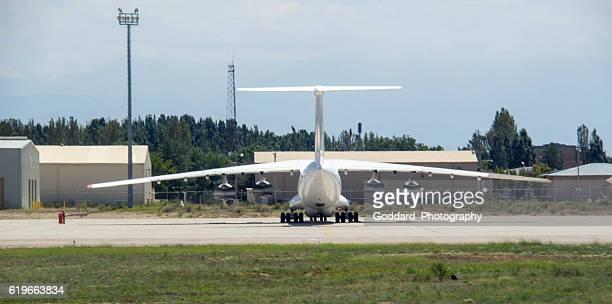 kyrgyzstan: ilyushin il-76 in bishkek - bishkek stock pictures, royalty-free photos & images