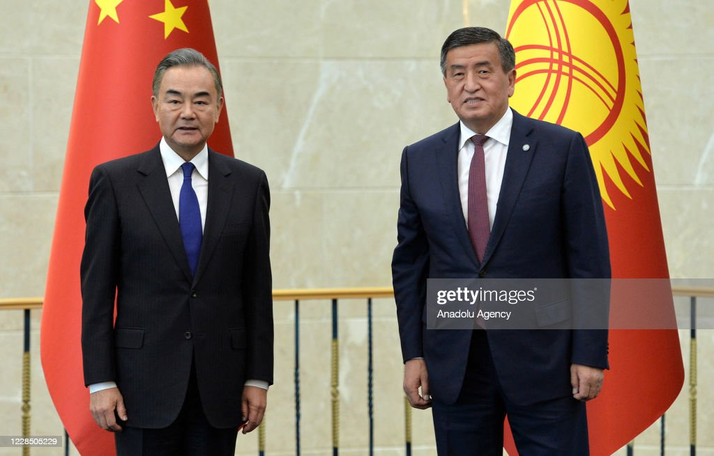 Sooronbay Jeenbekov - Wang Yi meeting in Bishkek : News Photo