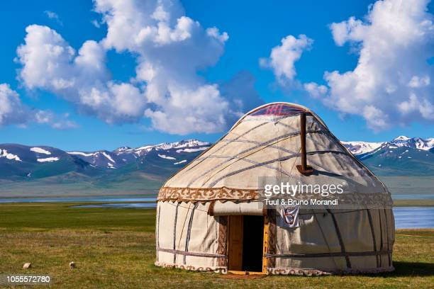 kyrgyzstan, song kul, nomad's camp - yurt stock pictures, royalty-free photos & images