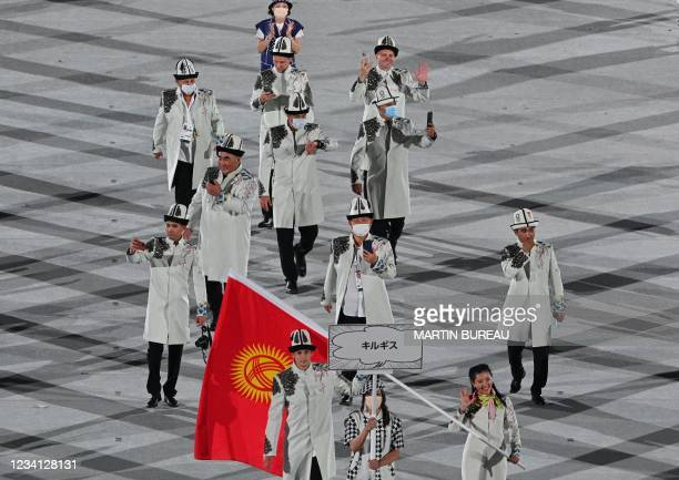 Kyrgyzstan's delegation parade during the opening ceremony of the Tokyo 2020 Olympic Games, at the Olympic Stadium, in Tokyo, on July 23, 2021.