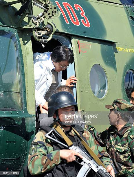 Kyrgyzstan's interim leader Roza Otunbayeva leaves a helicopter upon her arrival to Osh on June 18, 2010. Kyrgyzstan's interim leader Roza Otunbayeva...