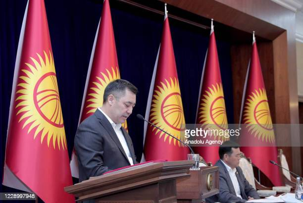 Kyrgyzstan's new Prime Minister Sadyr Japarov speaks during a meeting of the Supreme Council at the Ala Archa State Residence in Bishkek, Kyrgyzstan...