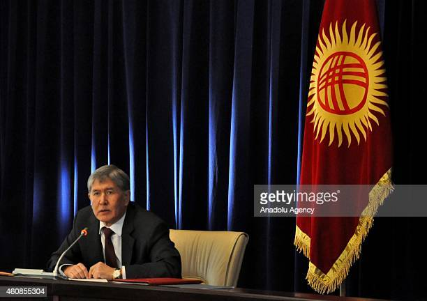 Kyrgyzstan's President Almazbek Atambayev gives a speech during a press conference for the yearend of the 2014 at the state residence in the capital...
