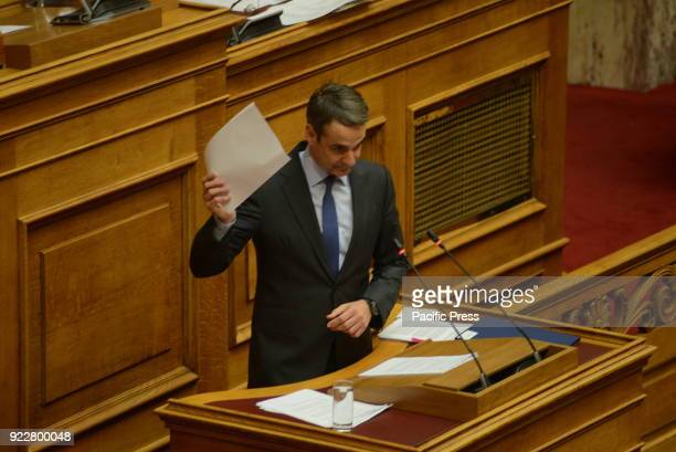 PARLIAMENT ATHENS ATTIKI GREECE Kyriakos Mitsotakis President of New Democracy party during his speech in Hellenic Parliament