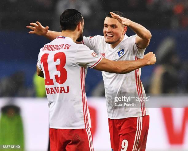 Kyriakos Papadopoulos and Mergim Mavraj of Hamburger SV celebrate after victory in the Bundesliga match between Hamburger SV and Bayer 04 Leverkusen...