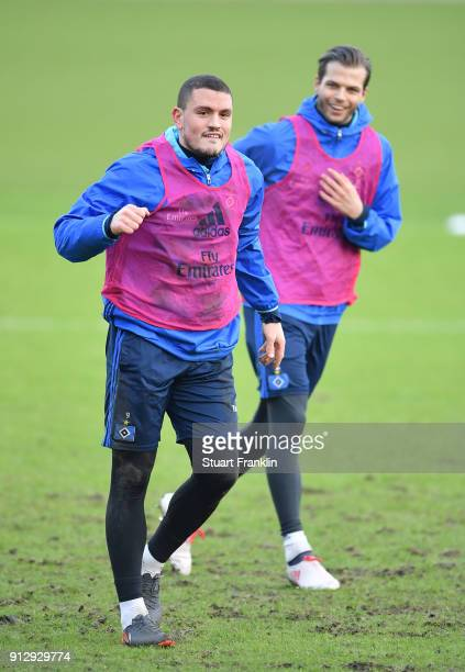 Kyriakos Papadopoulos of Hamburg celebrates during a training session of Hamburger SV at Volksparkstadion on February 1 2018 in Hamburg Germany