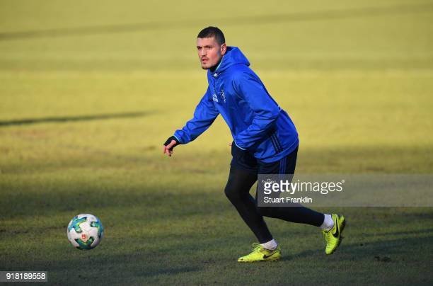 Kyriakos Papadopoulos of Hamburg controls the ball during a training session of Hamburger SV at Volksparkstadion on February 14 2018 in Hamburg...