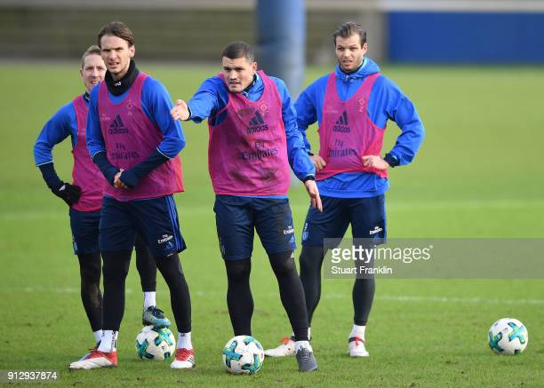 Kyriakos Papadopoulos of Hamburg gestures during a training session of Hamburger SV at Volksparkstadion on February 1 2018 in Hamburg Germany