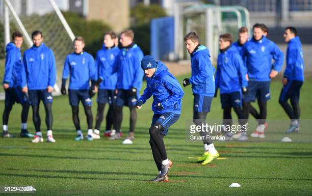 Kyriakos Papadopoulos of Hamburg in action during a training session of Hamburger SV at Volksparkstadion on February 1 2018 in Hamburg Germany