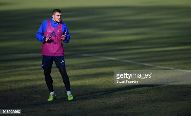 Kyriakos Papadopoulos of Hamburg in action during a training session of Hamburger SV at Volksparkstadion on February 14 2018 in Hamburg Germany