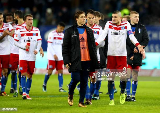 Kyriakos Papadopoulos of Hamburg looks dejected after the Bundesliga match between Hamburger SV and VfL Wolfsburg at Volksparkstadion on December 9...