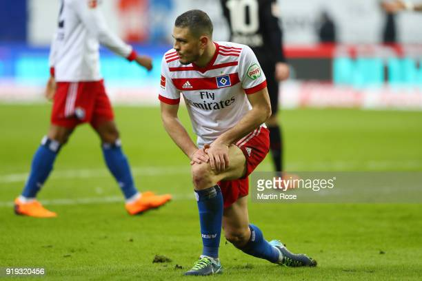 Kyriakos Papadopoulos of Hamburg looks dejected during the Bundesliga match between Hamburger SV and Bayer 04 Leverkusen at Volksparkstadion on...