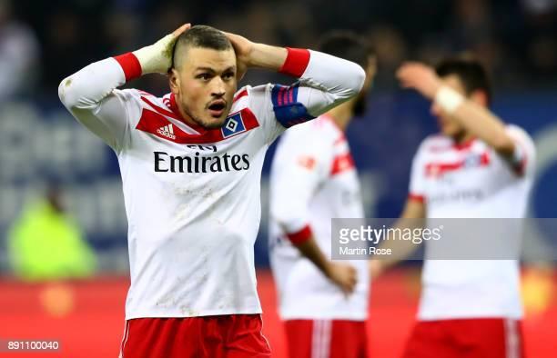 Kyriakos Papadopoulos of Hamburg reacts during the Bundesliga match between Hamburger SV and Eintracht Frankfurt at Volksparkstadion on December 12...