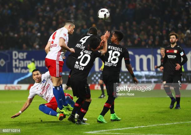 Kyriakos Papadopoulos of Hamburger SV scores a goal during the Bundesliga match between Hamburger SV and Bayer 04 Leverkusen at Volksparkstadion on...