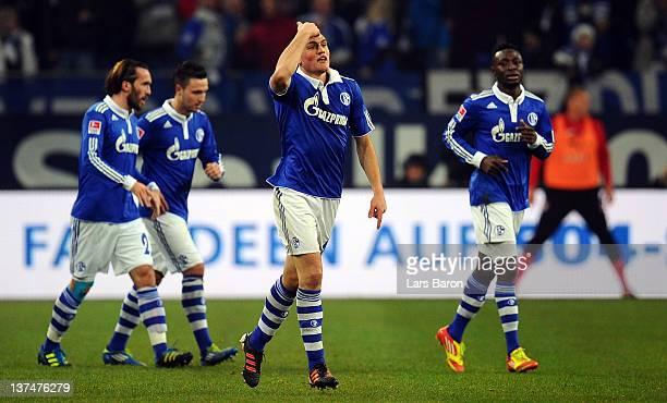 Kyriakos Papadopoulos of Schalke celebrates after heading his teams second goal during the Bundesliga match between FC Schalke 04 and VfB Stuttgart...
