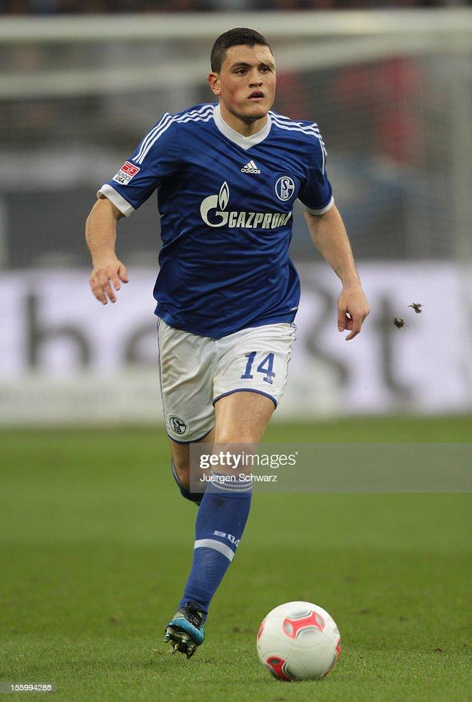 Kyriakos Papadopoulos of Schalke controls the ball during the Bundesliga match between FC Schalke 04 and Werder Bremen at Veltins-Arena on November 10, 2012 in Gelsenkirchen, Germany.