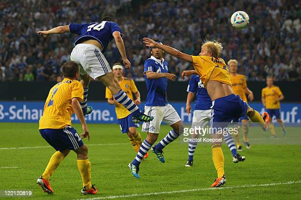Kyriakos Papadopoulos of Schalke scores the forth goal during the UEFA Europa League play-off second leg match between FC Schalke and HJK Helsinki at...