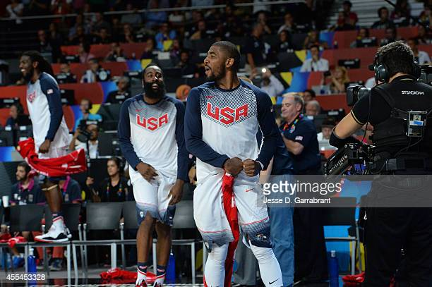 Kyrie Irivng of the USA Men's National Team celebrates after defeating the Serbia National Team during the 2014 FIBA World Cup Finals at Palacio de...