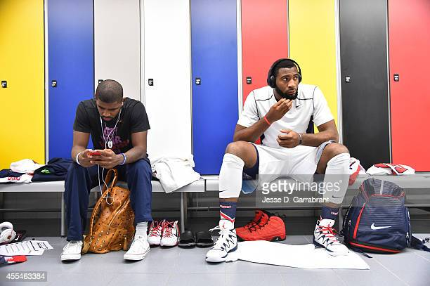 Kyrie Irving and Andre Drummond of the USA Men's National Team prepares for the game against the Serbia National Team during the 2014 FIBA World Cup...