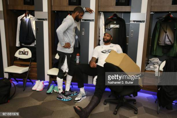 Kyrie Irving and DeMarcus Cousins of Team LeBron before the game against Team Stephen during the NBA AllStar Game as a part of 2018 NBA AllStar...