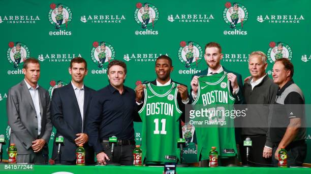 Kyrie Irving and Gordon Hayward are introduced as the newest members of the Boston Celtics at TD Garden on September 1 2017 in Boston Massachusetts