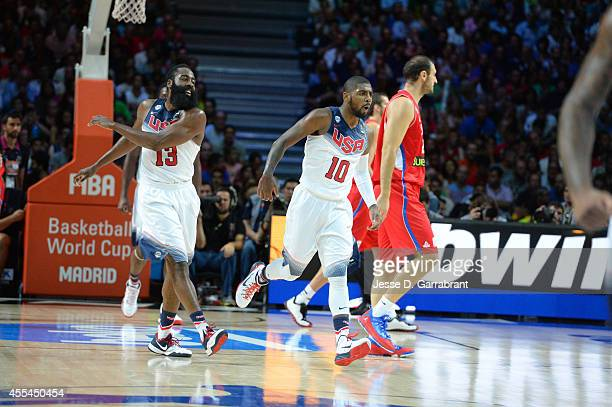 Kyrie Irving and James Harden of the USA Men's National Team celebrates against the Serbia National Team during the 2014 FIBA World Cup Finals at...