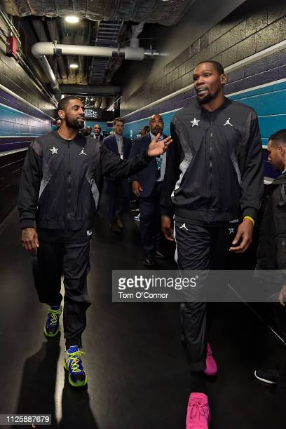 Kyrie Irving and Kevin Durant of Team LeBron are seen before the game against Team Giannis during the 2019 NBA AllStar Game on February 17 2019 at...