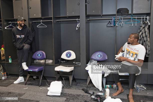 Kyrie Irving and Kevin Durant of Team LeBron talk in the locker room after the 2019 NBA All Star Game on February 17 2019 at Spectrum Center in...