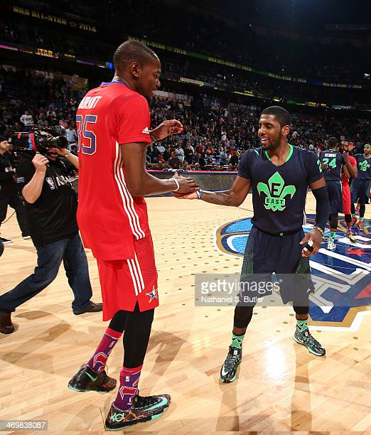Kyrie Irving and Kevin Durant react after the 2014 NBA AllStar Game as part of the 2014 AllStar Weekend at Smoothie King Center on February 16 2014...