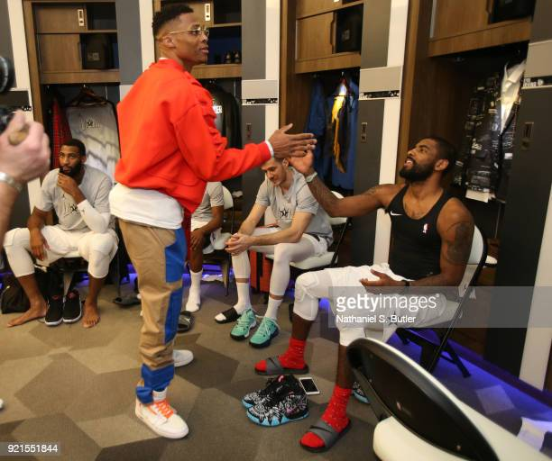 Kyrie Irving and Russell Westbrook of Team LeBron before the game against Team Stephen during the NBA AllStar Game as a part of 2018 NBA AllStar...