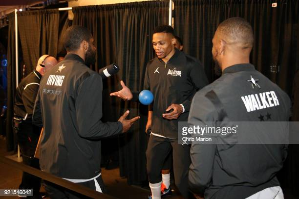 Kyrie Irving and Russell Westbrook of team LeBron warm up prior to the NBA AllStar Game as a part of 2018 NBA AllStar Weekend at STAPLES Center on...