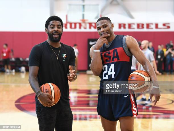 Kyrie Irving and Russell Westbrook of the United States joke around during a practice session at the 2018 USA Basketball Men's National Team minicamp...