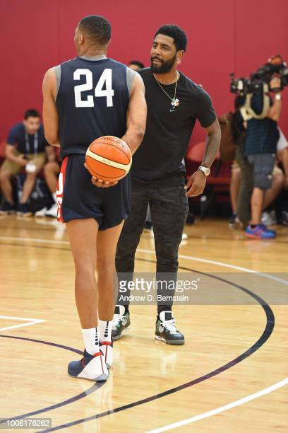Kyrie Irving and Russell Westbrook talk during USAB Minicamp Practice at Mendenhall Center on the University of Nevada Las Vegas campus on July 26...