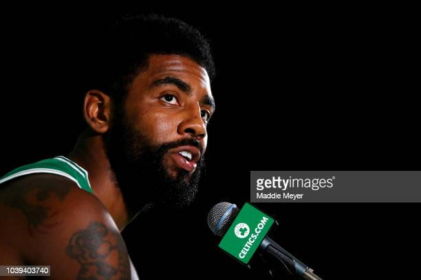 Kyrie Irving answers questions during a press conference on Boston Celtics Media Day on September 24 2018 in Canton Massachusetts NOTE TO USER User...